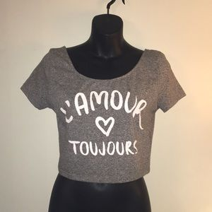 Divided H&M woman's Graphic crop top Medium Grey